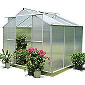 Nison EaZi-Click 6X8 Aluminium Polycarbonate Greenhouse in Silver including Base
