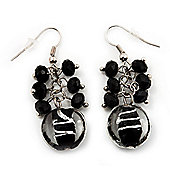 Black & Transparent Glass Bead Drop Earrings (Silver Tone Metal) - 4.5cm Length