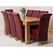 Kuba Chunky Solid Oak 180 cm Dining Table with 8 Burgundy Montana Leather Chairs