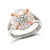 Rose Coated Sterling Silver Cubic Zirconia Gemstone Ring