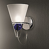 De Majo Gemma Wall Lamp in Chrome - Clear Frosted Shade - Blue