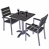 Sofia 2 Seater Square Brushed Stainless & Plaswood Set - Outdoor/Garden table and Chair set.