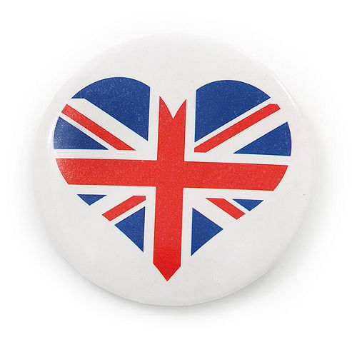 Union Jack Heart Lapel Pin Button Badge - 4.5cm Diameter