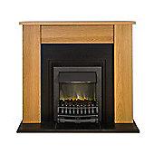 Adam New England Fireplace Suite in Oak and Cast Effect with Blenheim Black Electric Fire