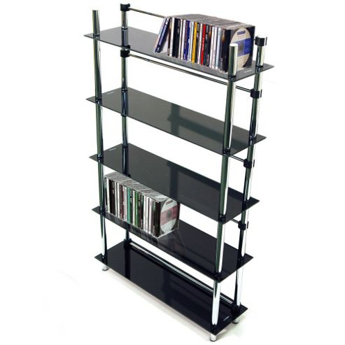 Techstyle 5 Tier DVD / CD / Media Storage Shelves - Black