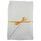 2 x 100% Cotton White Newborn Baby Hooded Towels 60x60cm