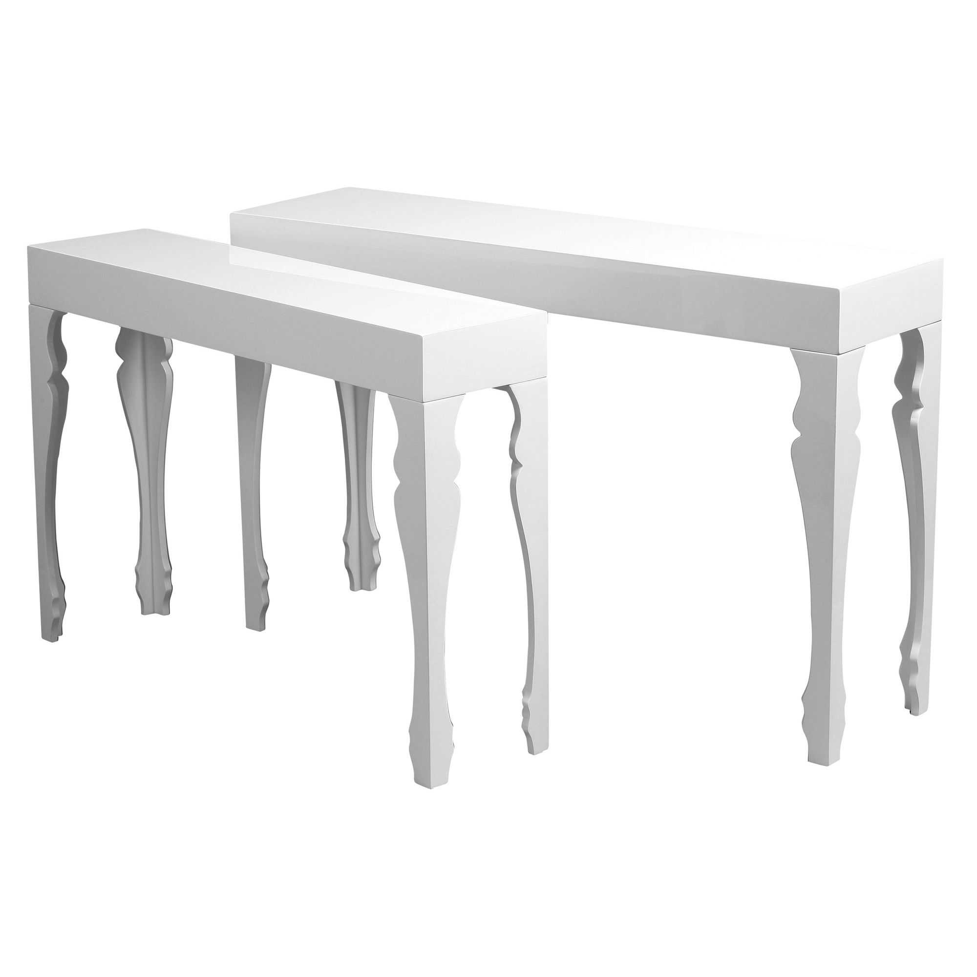 Premier Housewares Luis Accent Tables (Set of 2) - White High Gloss at Tesco Direct