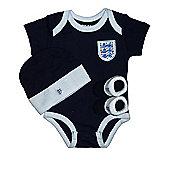 England Football Baby 3 Piece Gift Set, Bodysuit, Booties & Hat - Navy - Navy