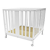 BabyDan Karla White Wooden Baby Playpen Newborn 3 Adjustable Positions Wheels