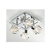 Designer Ceiling Spotlight in Chrome with Scupltured Crystal Glass