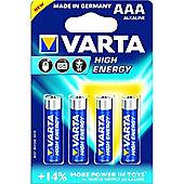 VARTA AAA High Energy Alkaline Batteries (Pack of 4)