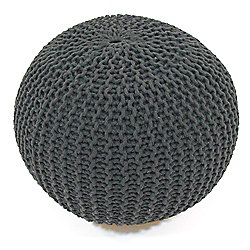 Kaikoo Chunky Knitted Pouffe Charcoal