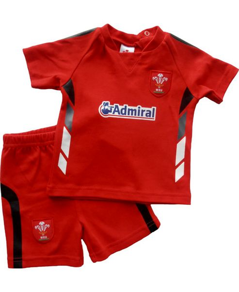 Wales Wru Rugby T-shirt & Shorts Set - Red - Red