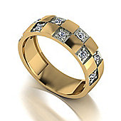 9ct Gold Gents 10 Stone Moissanite Ring