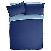 Tesco Basics Reversible Duvet Set Navy and Breeze Blue, Kingsize