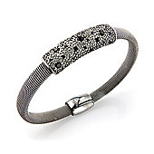Jewelco London Sterling Silver - Charcoal-hue Galvanised Magnetic Clasp Wristpiece - Bangle - Ladies
