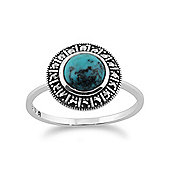 Gemondo 925 Sterling Silver Art Deco 0.97ct Turquoise & Marcasite Ring