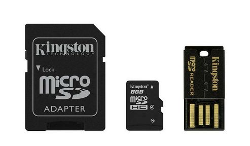 Kingston microSDHC 8GB Class 4 Card + SD Adapter + USB Reader