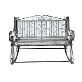 Bentley Garden Wrought Iron Grey Outdoor Rocking Bench