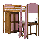 Verona High Sleeper Bed - Pink - Bed Frame Only