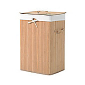 HOMCOM 70L Collapsible Bamboo Laundry Basket