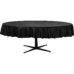 Black Round Tablecover - Plastic - 86cm x 2.1m