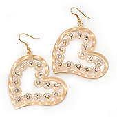 Gold Plated Open-Cut Diamante 'Heart' Drop Earrings - 6cm Length