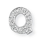 Jewelco London 9ct White Gold - Diamond - Q' Initial Charm Pendant -