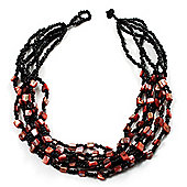 Multistrand Glass And Shell - Composite Necklace (Coral & Black)