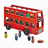 Wooden London Bus Toy with 22 Passengers