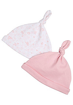 F&F 2 Pack of Knotted Hats - Pink