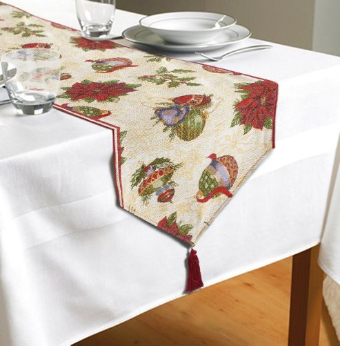 Buy Baubles Table Runner From Our Tablecloths & Covers
