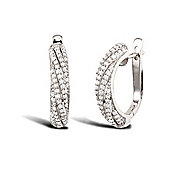 Jewelco London Rhodium Coated Sterling Silver Cubic Zirconia Pave Micro Set Huggie Earrings