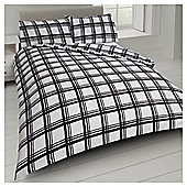 Tesco Check Print Duvet Cover And Pillowcase Set - Black