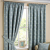 Homescapes Duck Egg Blue Ready Made Linen Curtain Pair Tapestry Floral Design 90x90""