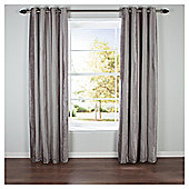 Chenille Stripe Lined Eyelet Curtains - Latte