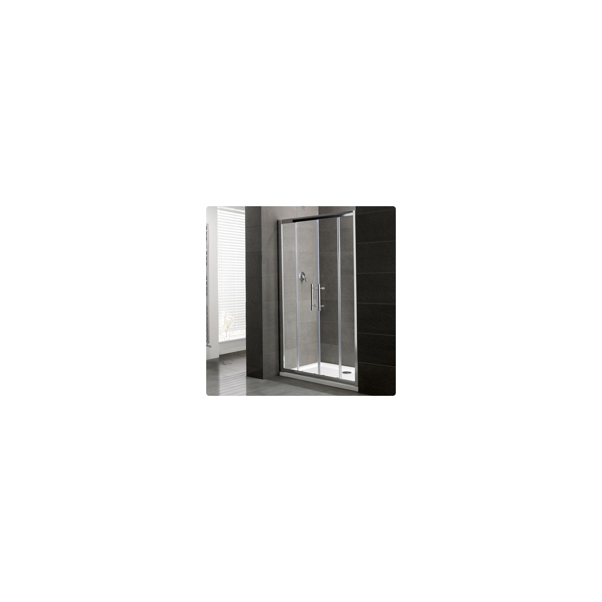 Duchy Select Silver Double Sliding Door Shower Enclosure, 1600mm x 800mm, Standard Tray, 6mm Glass at Tesco Direct