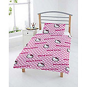 Hello Kitty 4pc Bundle Rotary Junior Cot Bed Duvet Quilt Cover Set