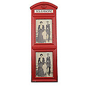 Large Wall Mountable Distressed Telephone Box Double Photo Frame