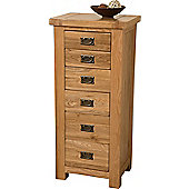 Cottage Solid Oak 6 Drawer Tallboy