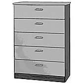 Welcome Furniture Mayfair 5 Drawer Chest - White - Ebony - Ebony