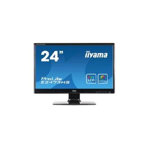 Iiyama ProLite E2473HS (23.6 inch) LED Backlit LCD Monitor 1000:1 300cd/m2 (1920x1080) 2ms D-Sub/DVI-D/HDMI/Headphone (Black)