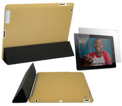 Cream Tan Smart ProGel Skin Case & Anti Glare Matt Screen Protector - Apple iPad 2 16gb 32gb 64gb (Works with Apple Smart Cover)