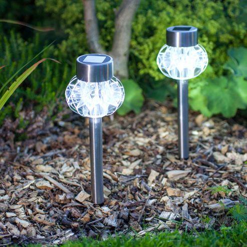 buy set of 2 white led solar garden stake lights from our. Black Bedroom Furniture Sets. Home Design Ideas