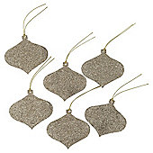 6 Pack Gold Glitter Tags