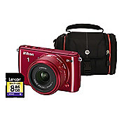 Nikon 1 S1 Red Camera Kit inc 11-27.5mm Lens, 8GB SD Card and Case