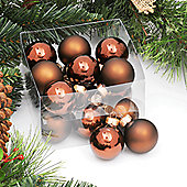 Pack of 18x 40mm Brown Glass Balls with Shiny & Matt Finish