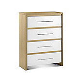 Stockholm Light Oak Finish & White Gloss 4 Drawer Chest