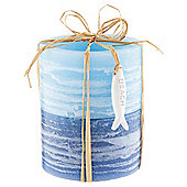 Two Tone Rustic Pillar Candle 2 Pack Large Blue