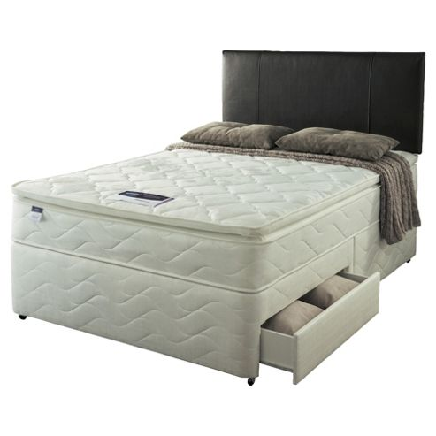 Buy silentnight double divan bed set miracoil pillowtop for Double divan bed with four drawers